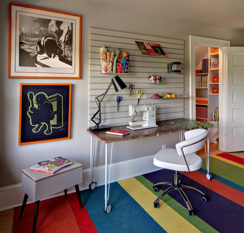 contemporary home office idea multicolored stripes carpet modern white working chair with wheels movable working desk single wall shelf units mid century modern side table in white
