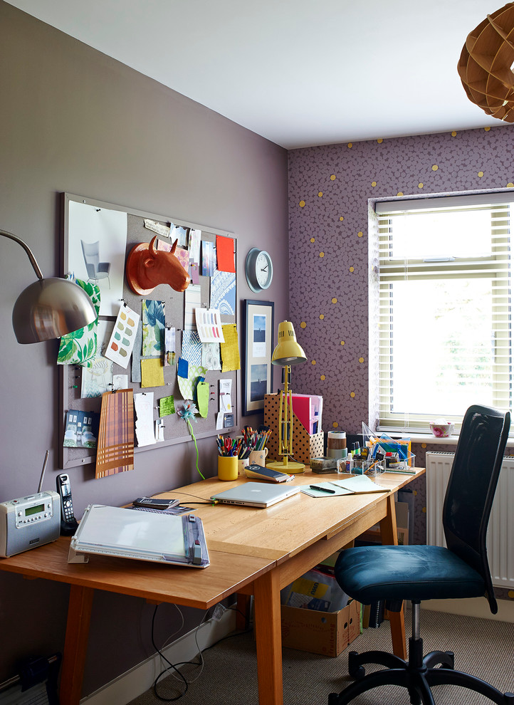 contemporary office space idea purple wallpapers dark purple wall system reclaimed wood working desk modern working chair with wheels woodboard wall organizer