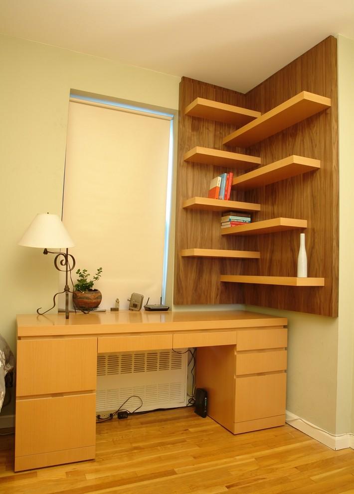 custom walnut working table corner walnut wall shelves idea with cantilevered board