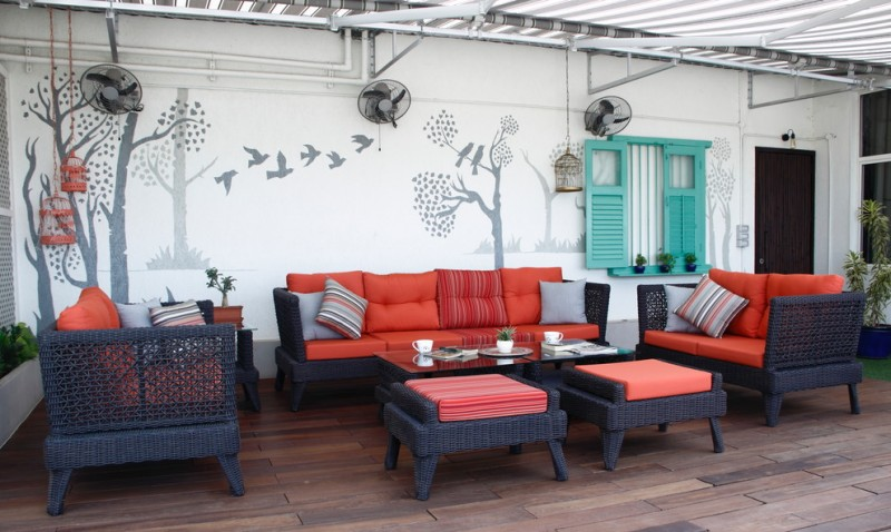 eclectic balcony dark toned balcony furniture sets with red seaters modern wall art turquoise exterior window shutter wood decking idea some wall mounted fans
