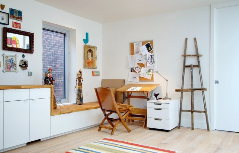 eclectic home office idea wood working desk wood working chair free standing drawer system in white decorative ladder storage solution orange wall board organizer pale toned wood floors