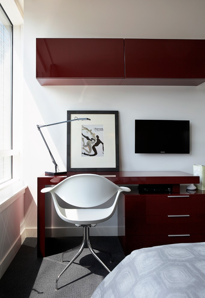 elegant home office maroon high rise wall organizer maroon working desk higher working chair in white floating media