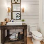 Farmhouse Bathroom Vanity Reclaimed Vanity Mirror A Couple Of Vanity Light Fixtures White Sink Dark Finishing Vanity Countertop Medium Toned Wood Floors
