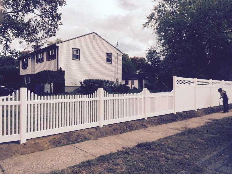 landscape idea for farmhouse style exterior mix fences idea consisting of white lattice fences and white wood board fences