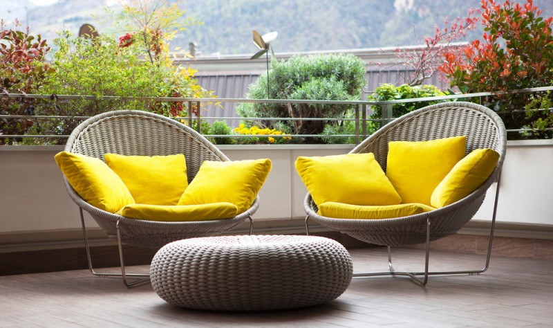 modern balcony bright yellow accent pillows and seaters light grey furniture set
