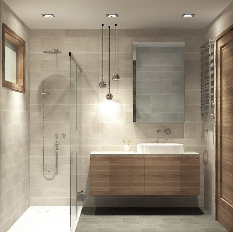modern bathroom vanity flat panel bamboo cabinet farmhouse sink frameless mirror stainless steel faucet lower pendant lamp clear glass shower door walk in shower