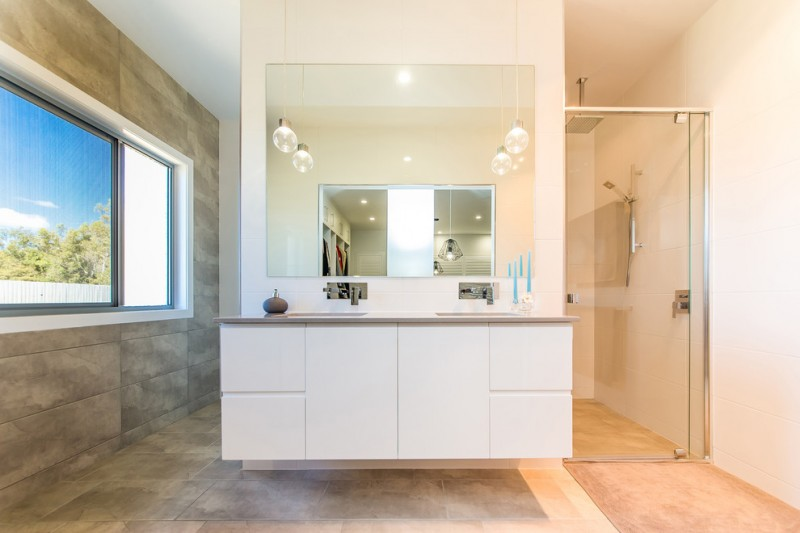 modern bathroom vanity idea floating and flat panels cabinets frameless vanity mirror a couple of bulb lighting fixtures