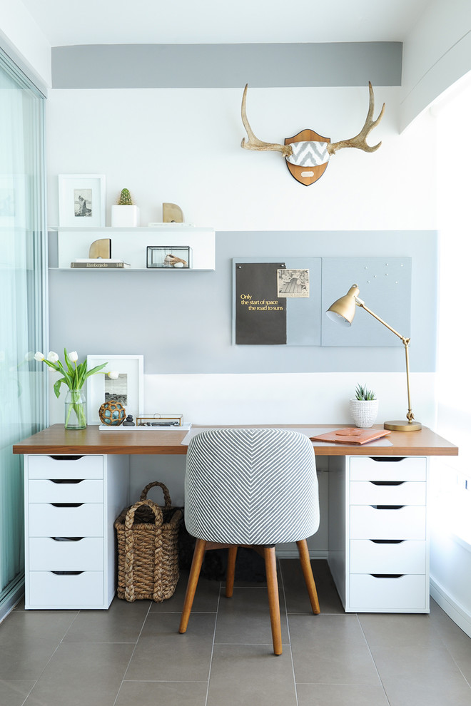 modern home office idea wood top working desk with white drawer system mid century modern working chair with wood legs wall board floating shelving units