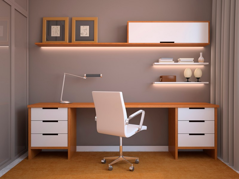 modern home office wood colored wall shelf with LED bars smaller wall shelves in white working desk with white drawer system and wood frames movable working chair in white