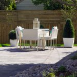 Modern Patio Idea Pavers Flooring Idea White Outdoor Dining Furniture Set Mix Horizontal Vertical Cedar Fencing Idea