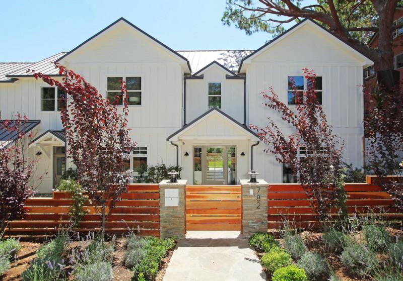 ranch house exterior idea wood fences idea with concrete gate posts