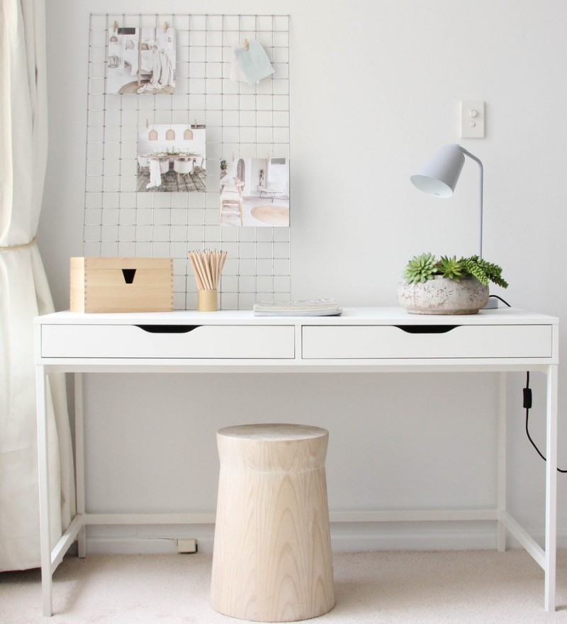 scandinavian home office idea white walls white working table soft toned wood side chair without finishing lightweight metal net board for wall organizer soft blue sea study light fixture