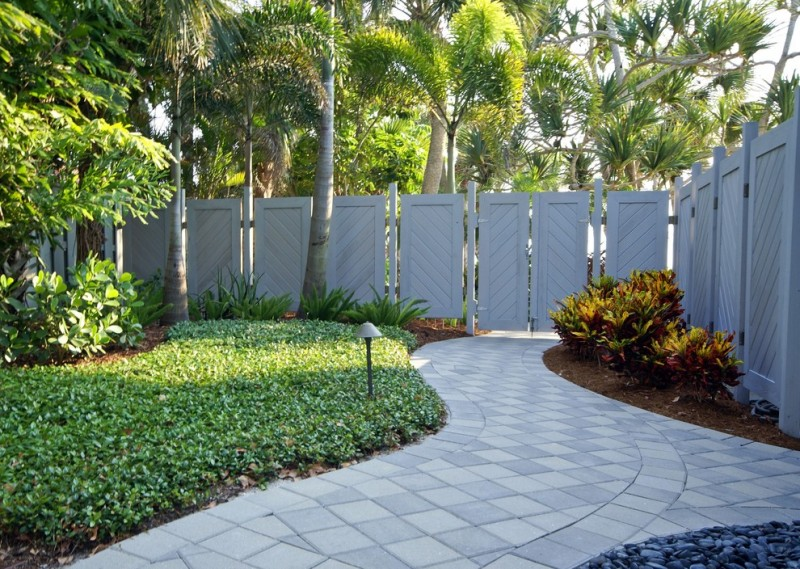 tropical landscaping idea chevron look like fence panels in grey pavers flooring idea