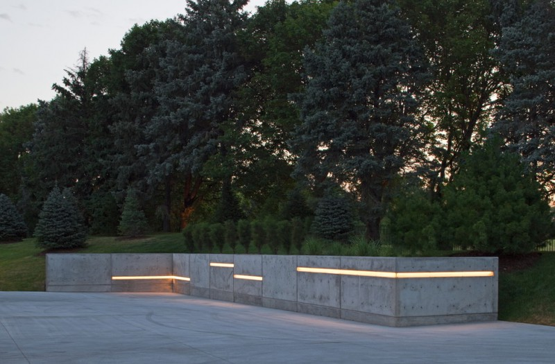 contemporary landscape concrete wall with strips of light