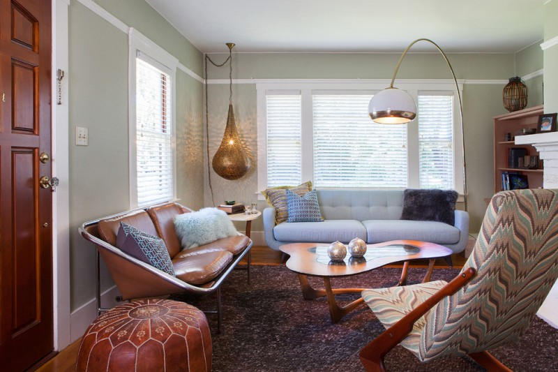 mid century modern living room idea unique brown leather sofa white and tufted sofa multicolored chair brown leather side chair