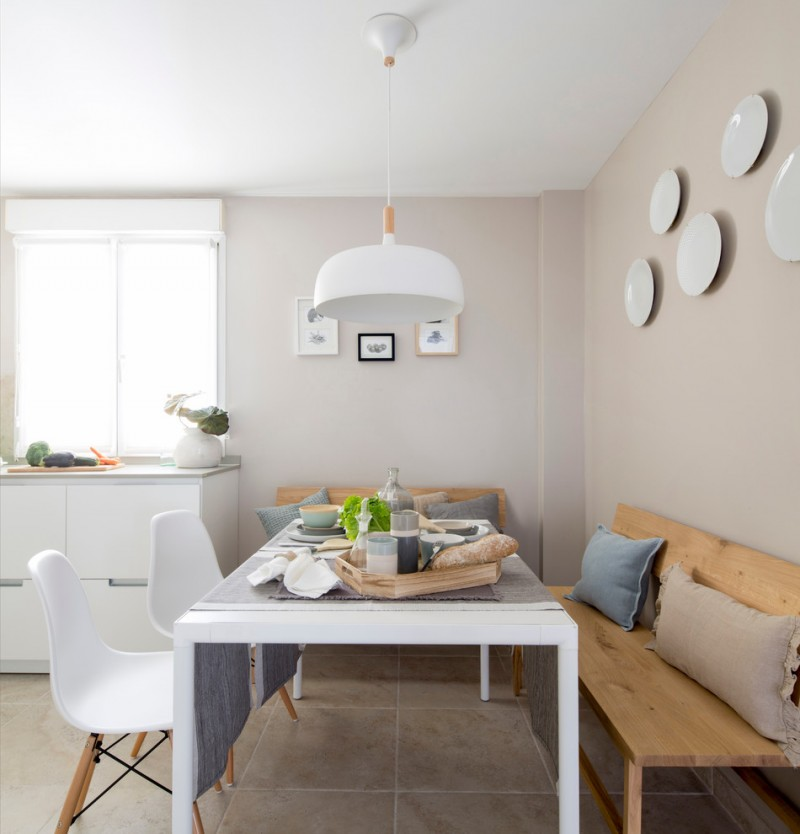 scandinavian dining room mid century modern chairs and table in white light toned wood benches with back white pendant