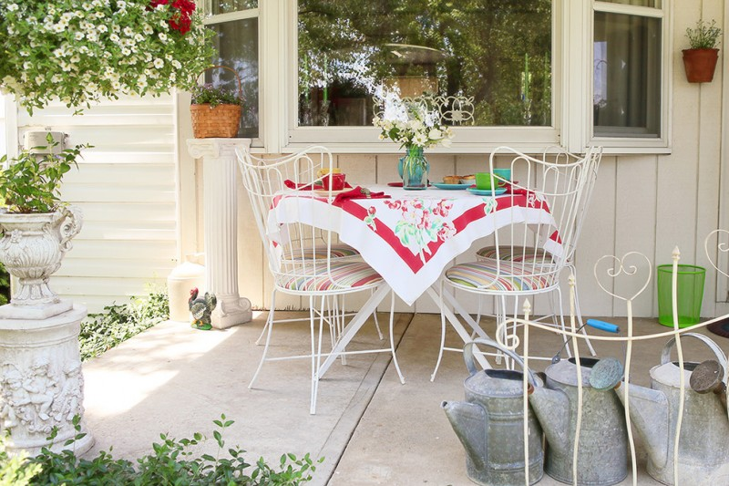 shabby chic front porch idea inviting and colorful porch furniture set in vintage style