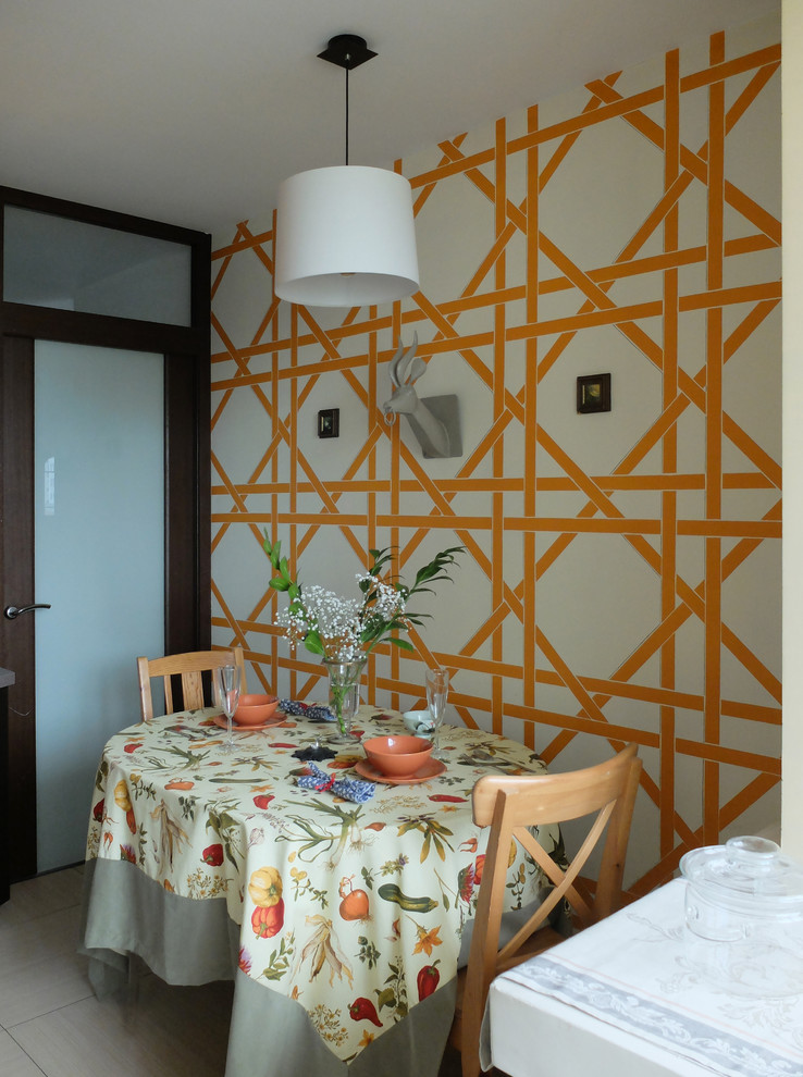 small dining room geometric wallpaper fruits themed table skirt a couple of wood dining chairs