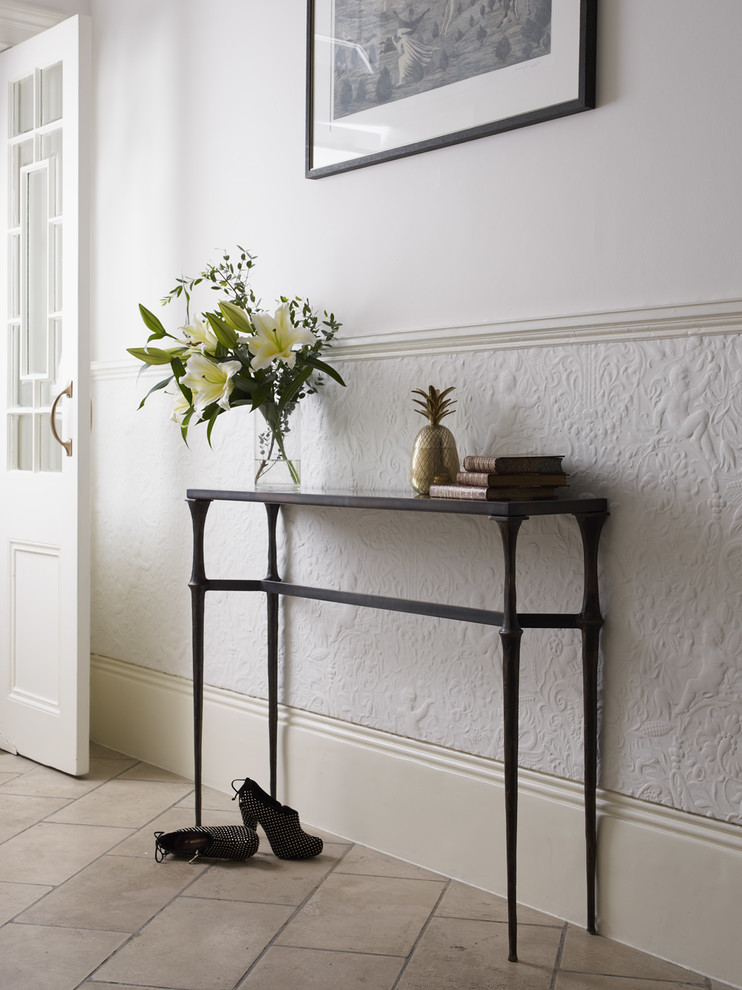 traditional entryway thin leg hall console table in wrought iron finishing