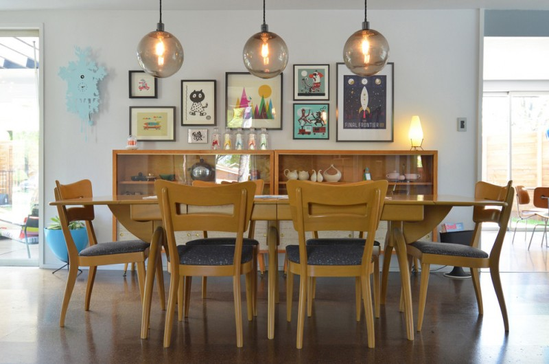 vintage style dining furniture set contemporary wall decors vintage style display table bulb pendant lamps dark brown laminate floors