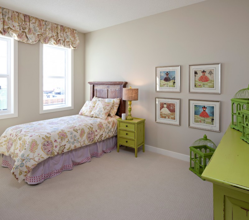 vintage style girls' room idea vintage style bedding treatment vintage style window curtains' skirt single wood bed frame green painted drawer system beige walls