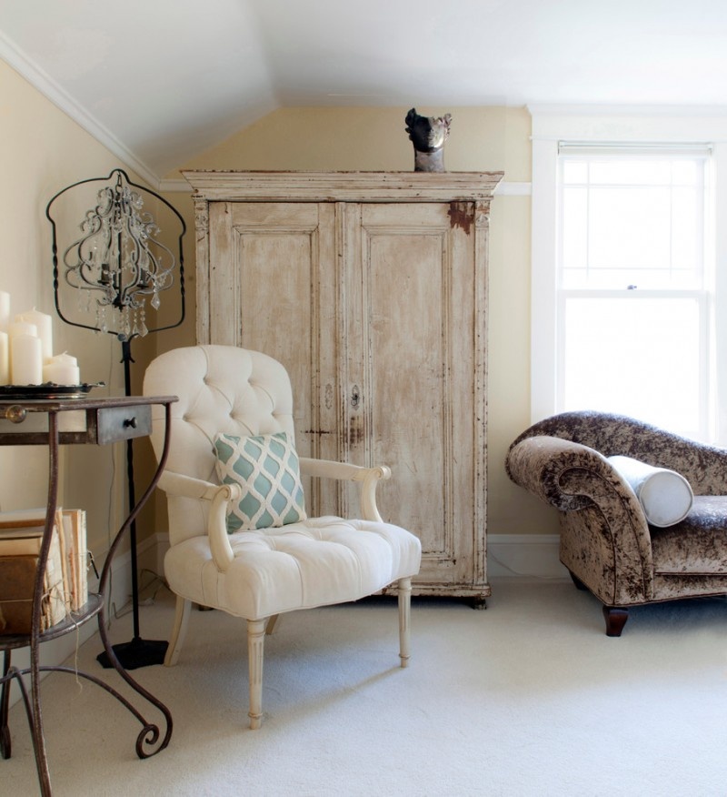 eclectic white chair with blue throw pillow shabbier wood closet higher legs metal console table cowhide covered sofa