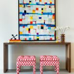 Modern Hallway Modern Wood Hall Console A Couple Of Crowded Red Side Chairs Pop Art Of Colors With Black Frame