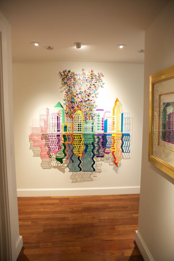 modern hallway wonderful & colorful pop art on wall