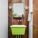 Small Eclectic Bathroom Design Hardwood Wall Background Modern Mirror A Couple Of Modern Vanity Lamps Green Stand Sink Concrete Floors White Walls