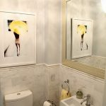 Small & Expensive Bathroom Marble Walls Grand Mirror With Gold Frame Artistic Wall Decor Floating Farmhouse Sink White Toilet