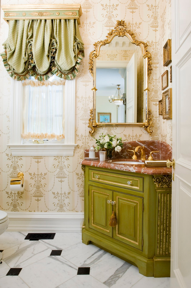 small victorian style bathroom white lace window curtains with green skirts vanity with green cabinets mirror with handmade crafting frame