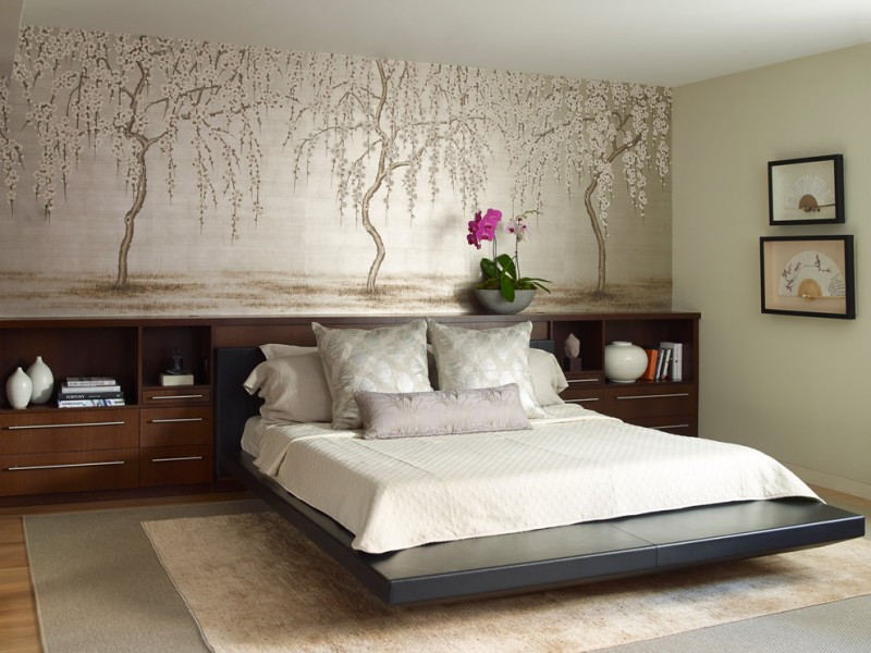 asian inspired bedroom design flower wallpaper in soft tone minimalist bed frame with headboard built in wooden storage