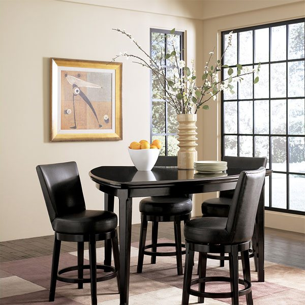 black finish triangle dining table black finish dining chairs