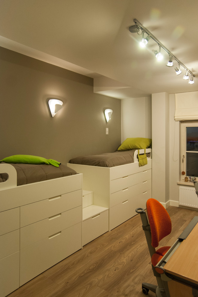 contemporary higher twin beds with extra side drawers