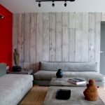 contemporary living room grey low couches grey low table grey wood like wallpaper red painted wall