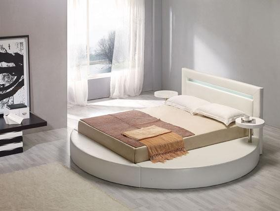 contemporary round platform bed frame in white whitewashed wood floors white painted walls