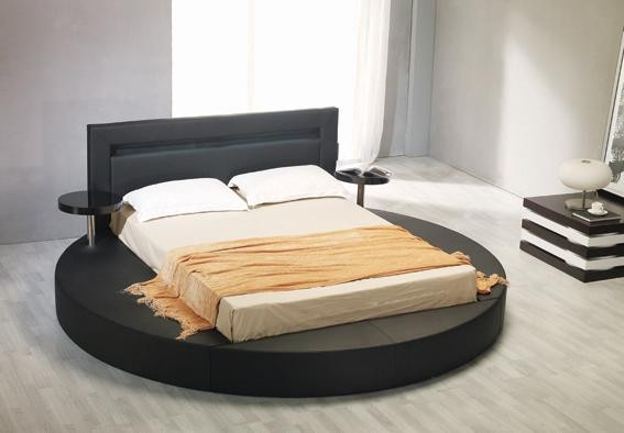 contemporary round platform bed in black