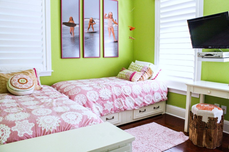 contemporary twin bed frames with pull out drawers green painted walls custom framed pictures