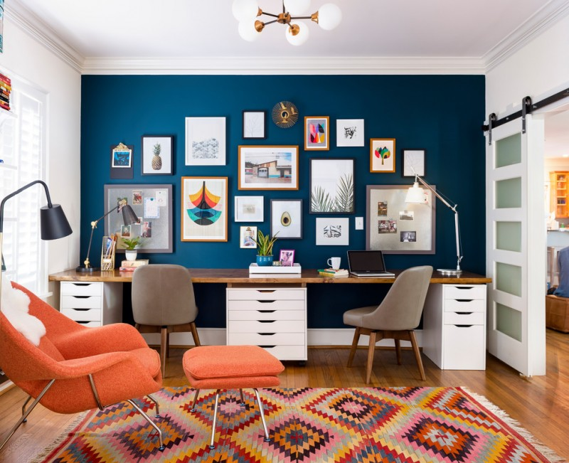 eclectic home office two sided office desk with butcher block top and extra files cabinets