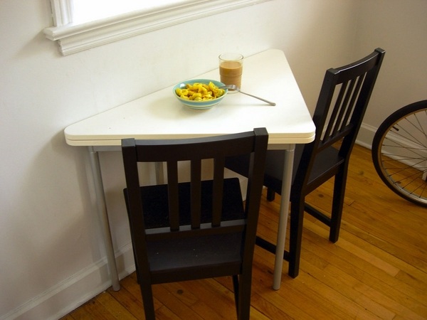 folding & wall mounting triangle dining table in white dark wood chairs