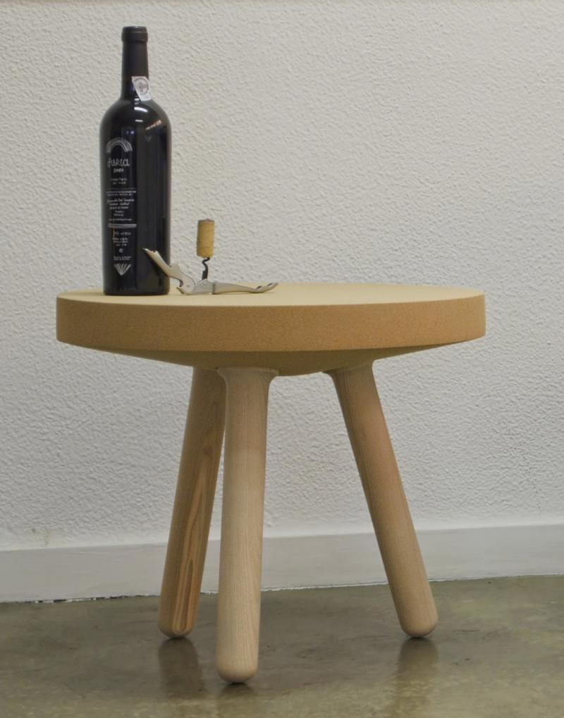 gorgeous organic side table with round top and blunt legs
