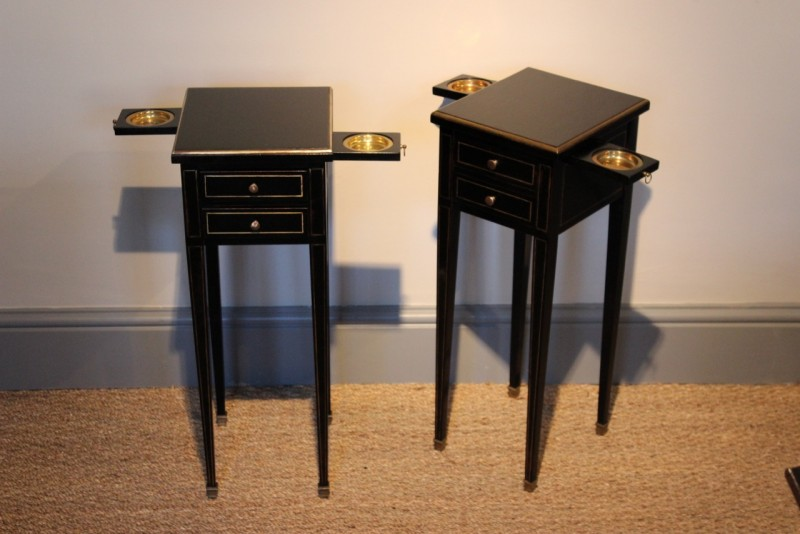 impressive skinny side tables with integrated trays and drawers