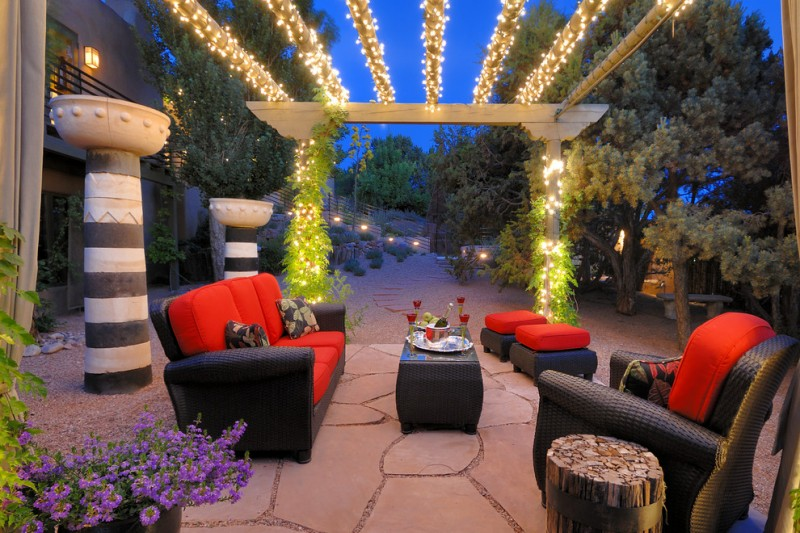 patio with sparkling pergola black red outdoor furniture set