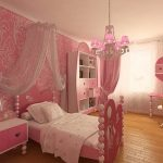 pink girls bedroom pink wallpaper with traditional patterns pink bed frame with pink heart shaped heardboard pink nightsand lighter pink semi transparent lace bed curtains chandelier with pink lampsha