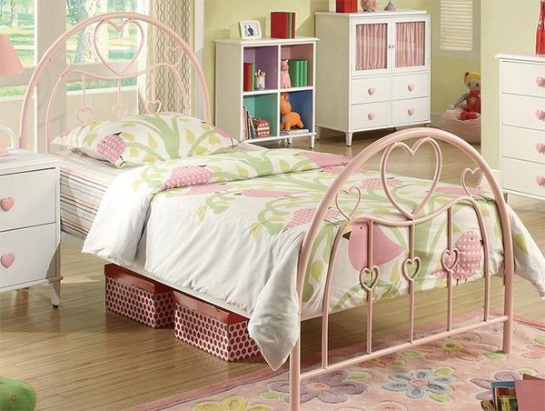 pink twin metal bed frame with arched & heart shaped headboard & footboard white finish bedside table with heart shaped handles
