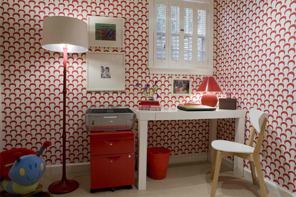 red scallops wallpapers simple white working desk red free standing cabinets with printer floor lamp with white lampshade