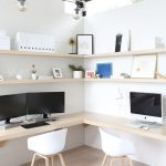 scandinavian style corner two sided office table with light wood top and shelves white plastic working chair with light wood legs