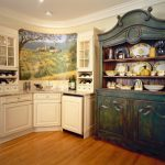 shabbily deep blue buffet design white corner buffet with centered hand painted picture decoration