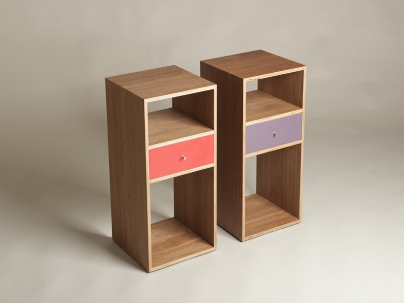 skinny natural side table with accenting color drawer