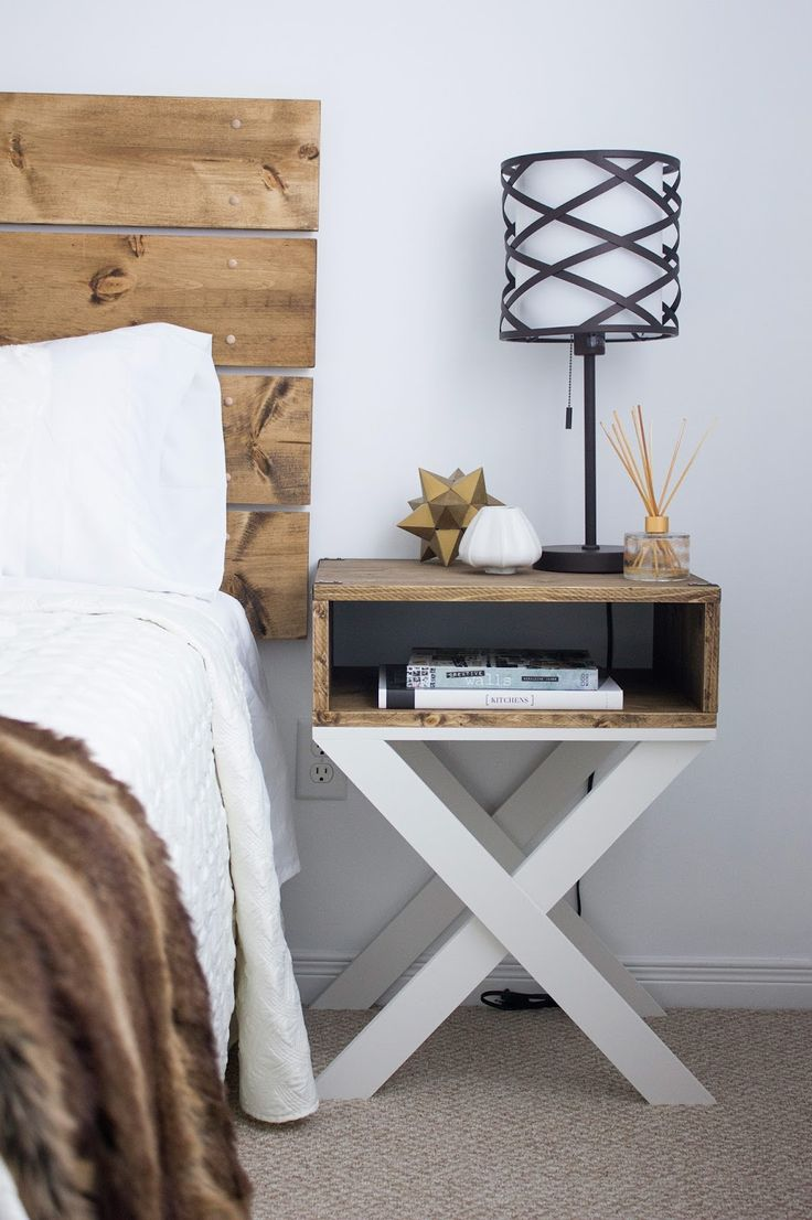 skinny side table with white x base and wooden top shelf black contemporary table lamp